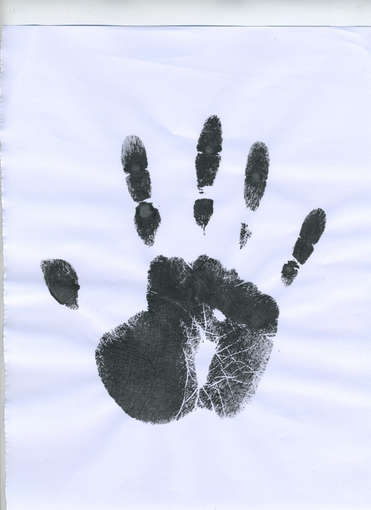 Handprint used for artwork activation touch point